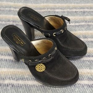 ♣️Authentic Coach black suede and patent clogs